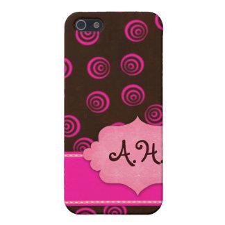 Coques iPhone 5 Brown et cas Girly tourbillonnant de rose