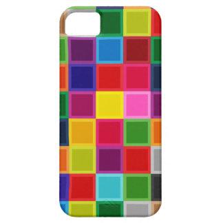 Coques iPhone 5 Carrés multi et rayures colorés Girly