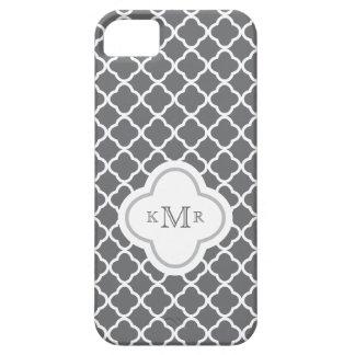 Coques iPhone 5 Case-Mate Monogramme élégant de motif chic gris-foncé de