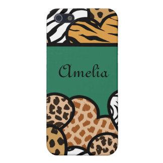 Coques iPhone 5 Coeurs Girly verts de poster de animal avec un nom
