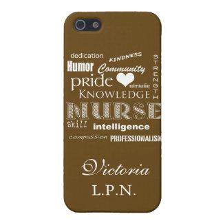 Coques iPhone 5 Fierté-Attributs d'infirmière/brun chocolat