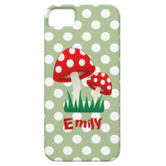 Coques iPhone 5 Pois girly de champignons d'amusement gai adorable