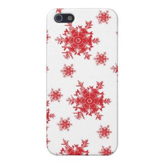 Coques iPhone 5 Rouge sur la conception blanche de flocon de neige