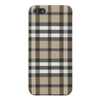 Coques iPhone 5 Taupe de cas de l'iPhone 4/motif noir de plaid