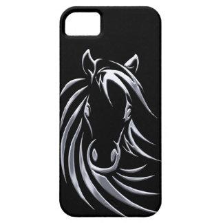 Coques iPhone 5 Tête de cheval argentée sur le noir