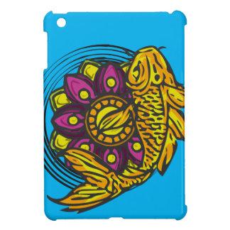 Coques Pour iPad Mini Koi jaune-orange avec la fleur