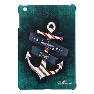 Coques Pour iPad Mini Les ancres loin impriment le monogramme nautique