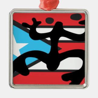 Coqui taíno sur le drapeau de Port Riche Ornement Carré Argenté