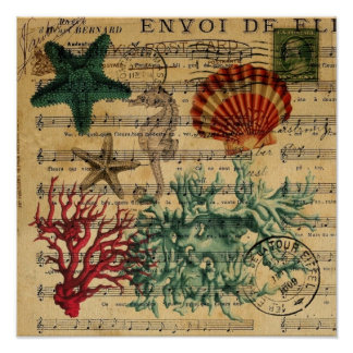 coquillage de corail côtier chic d'hippocampe de poster