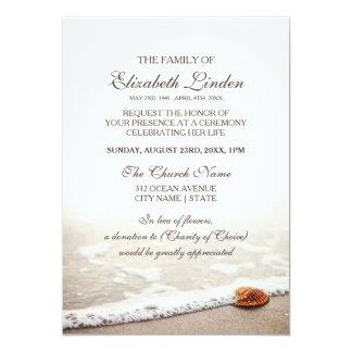 Coquillage sur la cérémonie commémorative de plage carton d'invitation  12,7 cm x 17,78 cm