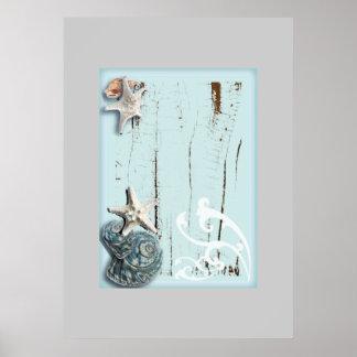 Coquillages bleus d'étoiles de mer d'aqua en bois poster