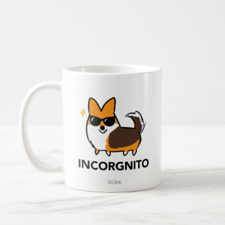 Corgi tricolore rouge avec la tasse d'Incorgnito