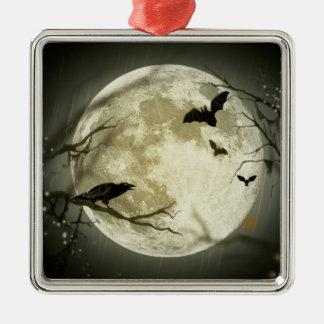 Corneilles éffrayantes de lune de Halloween Ornement Carré Argenté