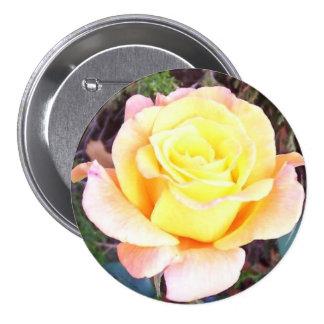 Corsage rose de pêche d'or - Sans Allergie ! Badge Rond 7,6 Cm