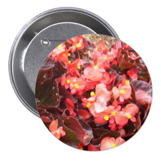 Corsage rouge de bégonias - Sans Allergie ! Badge Rond 7,6 Cm