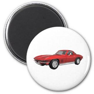 Corvette 1967 : Voiture de sport : Finition rouge  Magnet Rond 8 Cm