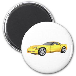 Corvette 2008 : Voiture de sport : Finition jaune  Magnet Rond 8 Cm
