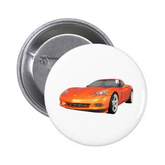 Corvette 2008 : Voiture de sport : Finition orange Badge Rond 5 Cm