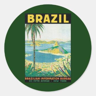 Côte vintage de plage de voyage, Rio de Janeiro Br Adhésifs Ronds