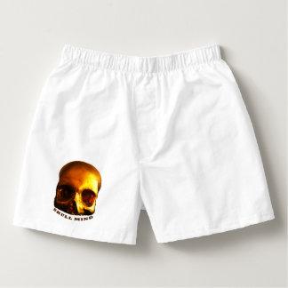 Coton blanc de boxeurs d'esprit de crâne d'or
