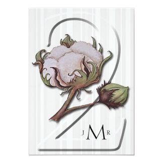 Coton sur le 2ème anniversaire de mariage de carton d'invitation  12,7 cm x 17,78 cm