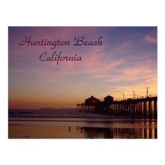 Coucher du soleil au pilier de Huntington Beach, Carte Postale
