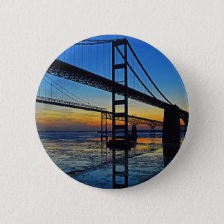 Coucher du soleil de pont de baie de chesapeake badge rond 5 cm