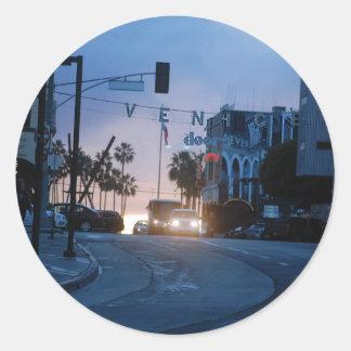 coucher du soleil de Venise Sticker Rond