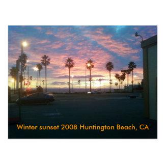 Coucher du soleil d'hiver Huntington 2008 B… Carte Postale