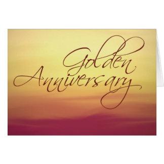 Coucher du soleil d'or épousant Anniversay Carte De Vœux