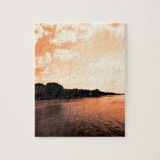 Coucher du soleil orange peint de silhouette puzzle