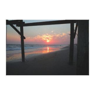 Coucher du soleil sous le pilier - île de chêne, toile