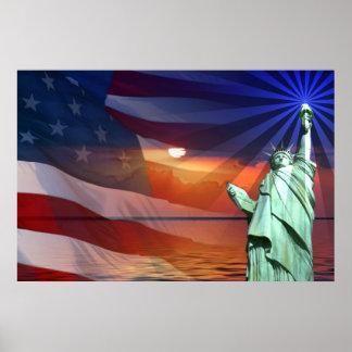 Coucher du soleil sur la liberté poster