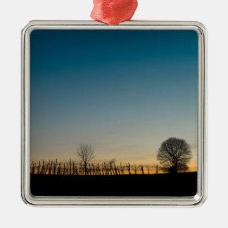 Coucher du soleil sur le vignoble ornement carré argenté