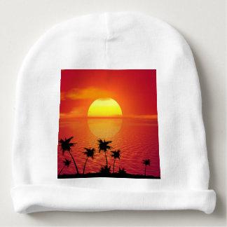 Coucher du soleil tropical bonnet pour bébé