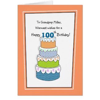 Couches anniversaire de bons souhaits de 100th carte
