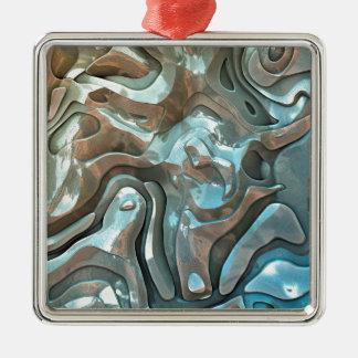Couches métalliques abstraites ornement carré argenté