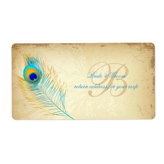 Couleur d'arrière - plan de PixDezines peacock/DIY Étiquette D'expédition