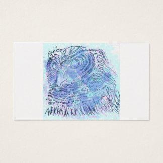 Couleur pour aquarelle bleue de hibou carte de visite standard