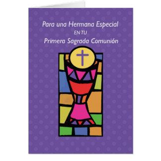 Couleurs lumineuses de première communion de carte de vœux