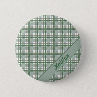 Couleurs pastel de motif vert de tartan avec le badge rond 5 cm