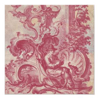 Couleurs rouges vintages de Toile Pompéi de patine Carton D'invitation 13,33 Cm