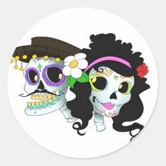Couples de fête mexicains de crâne sticker rond