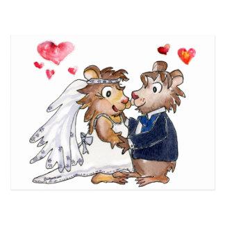 Couples de mariage de bande dessinée carte postale