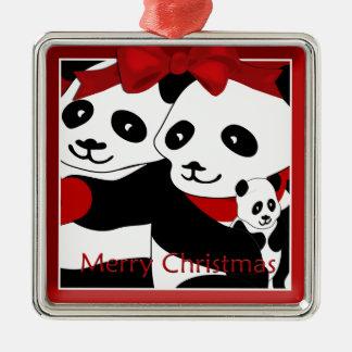 Couples de panda et ornement de prime de Noël de