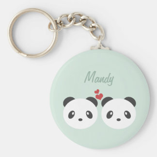 Couples de panda porte-clé rond