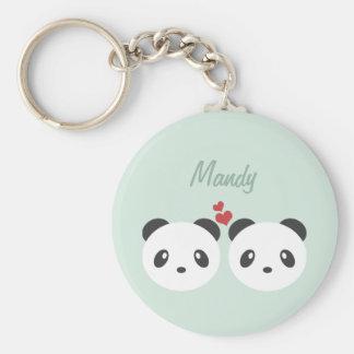 Couples de panda porte-clés