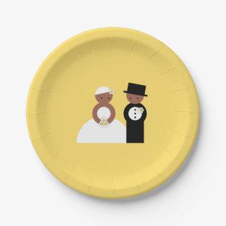 Couples mignons de mariage assiettes en papier