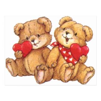 Couples mignons d'ours de nounours de Valentine Carte Postale