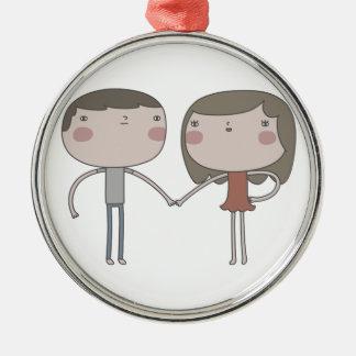 Couples mignons ornement rond argenté